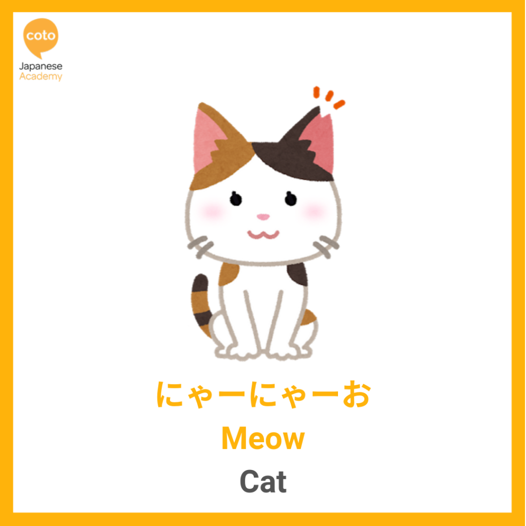 Common Animal Onomatopoeia used by the Japanese, cat, meow, image, photo, picture, illustration