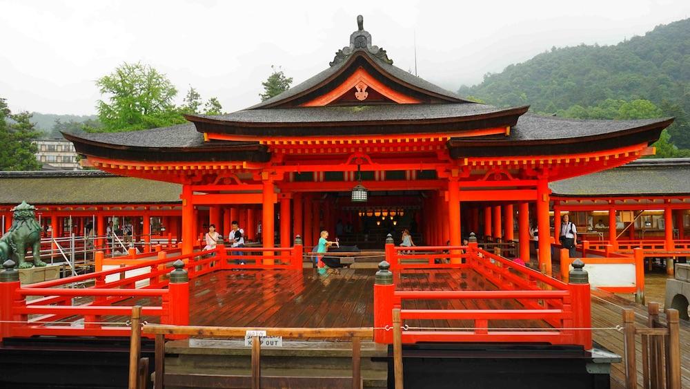 red shrine Hiroshima Prefecture Japan