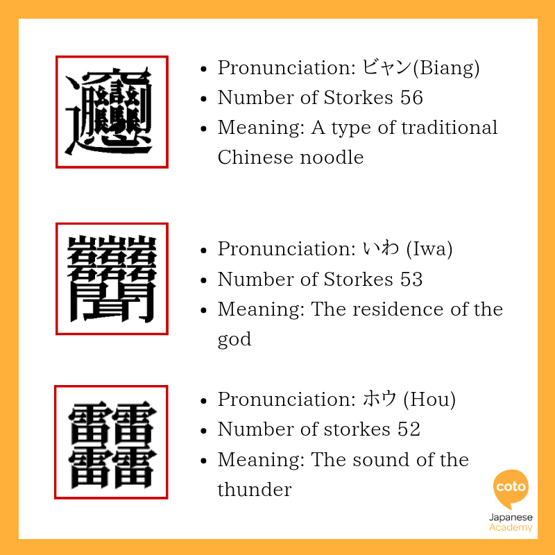 The most difficult kanji illustration