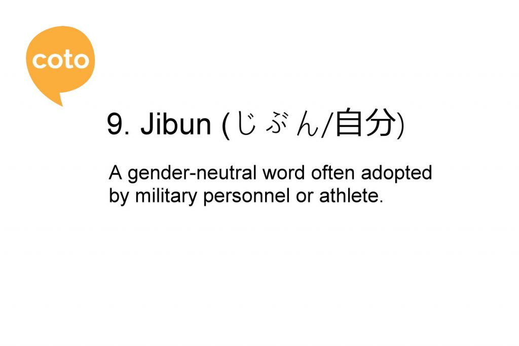how to say 'I' or 'me' in Japanese - Jibun
