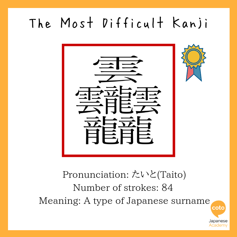 The most difficult kanji iIlustration