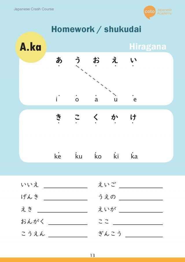 japanese hiragana - a, ka