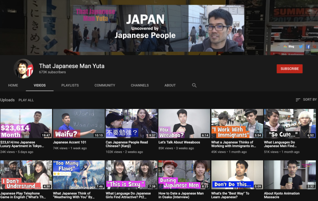 top 50 youtube channels to learn japanese - that japanese man yuta