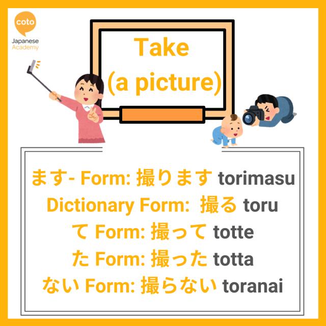 U-verbs conjugation list, image, photo, picture, illustration, Take a picture