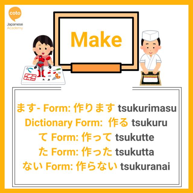 U-verbs conjugation list, image, photo, picture, illustration, Make