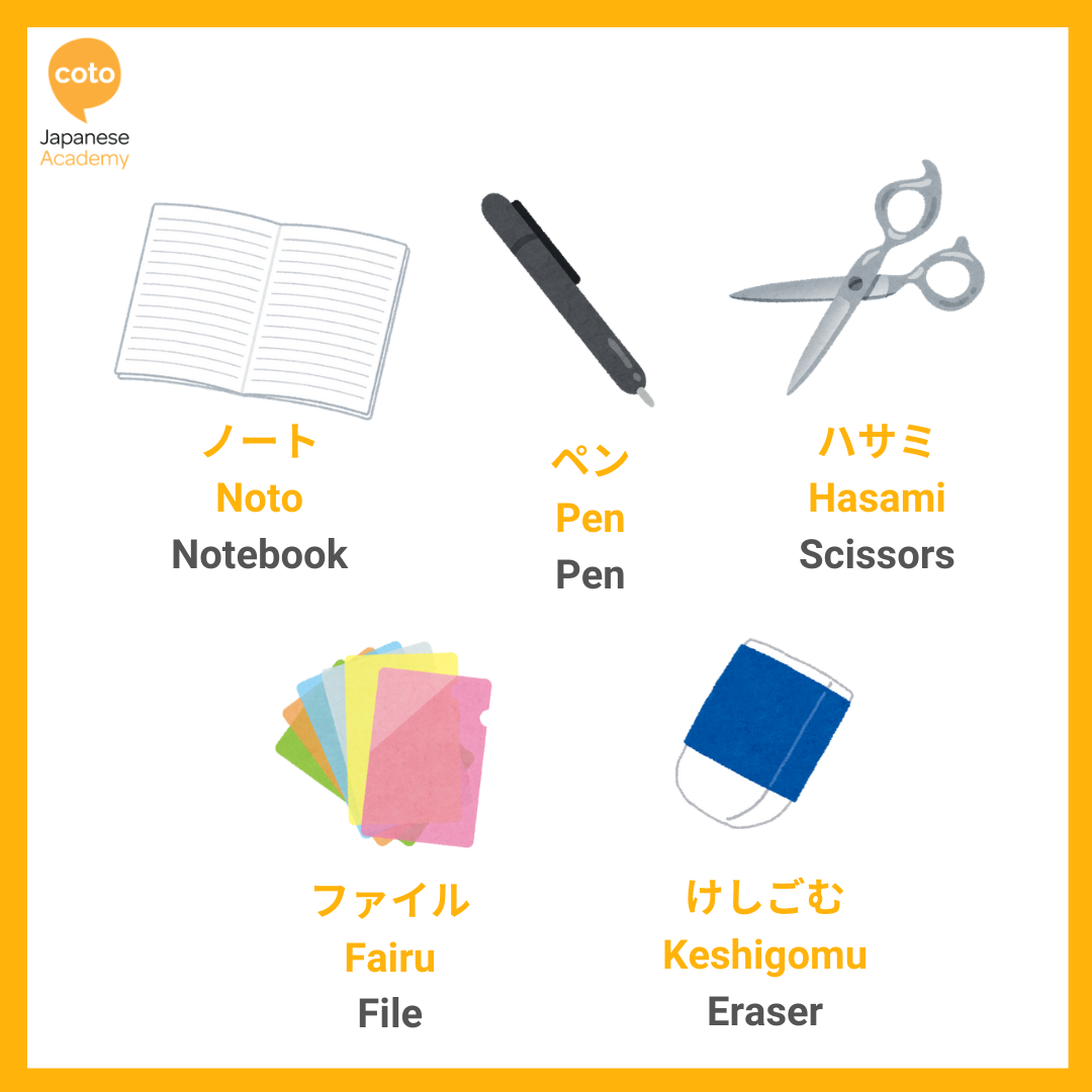 Japanese Stationery Vocabulary ー Useful Words and Places to Shop, image, picture, photo, illustration