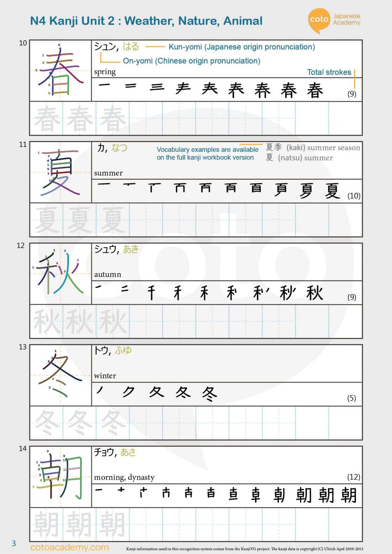 JLPT N4 kanji weather Nature Animal 春 夏 秋 冬 朝