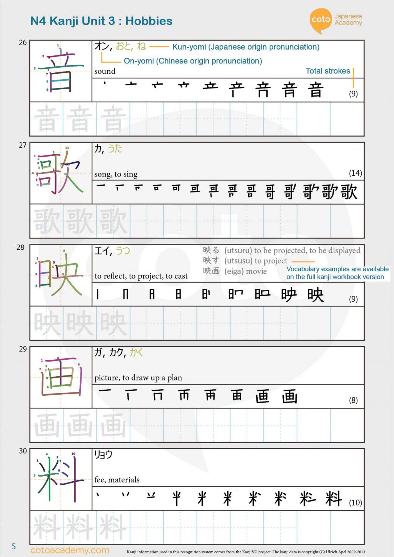 JLPT N4 Kanji 音 楽