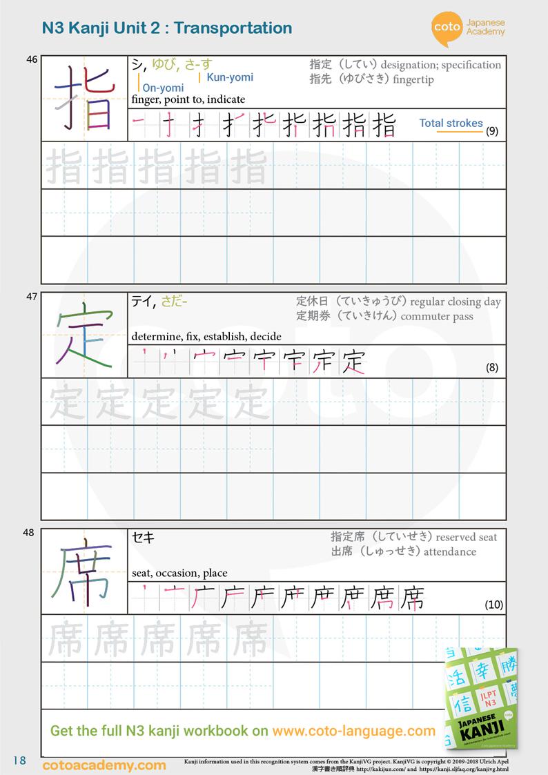 JLPT N3 kanji practice workbook ticket 指定