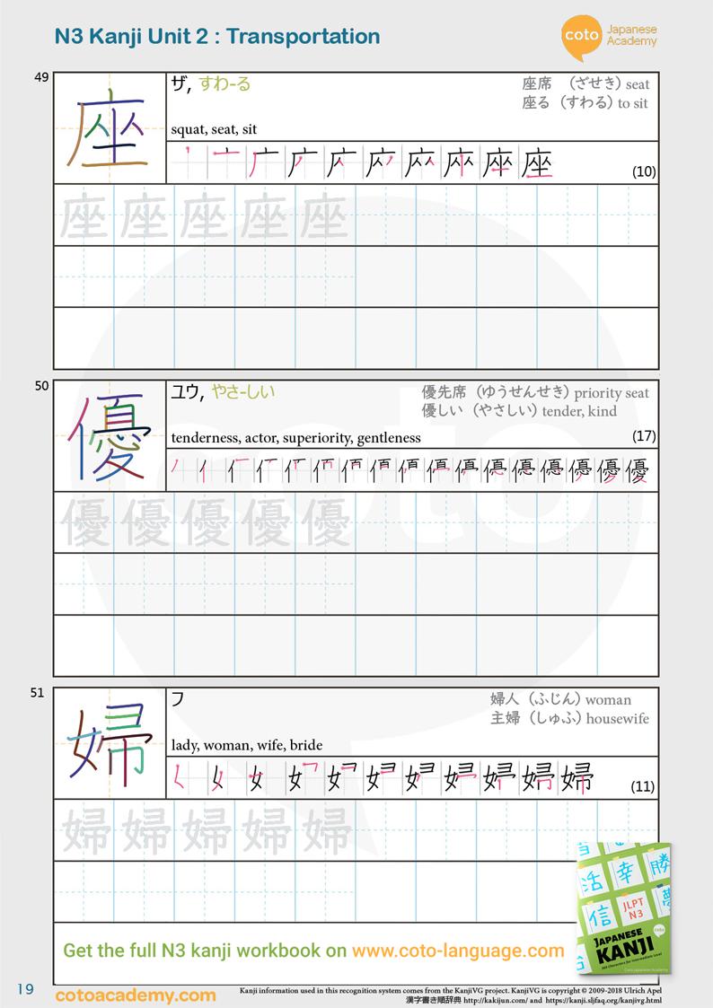JLPT N3 kanji practice workbook 優先
