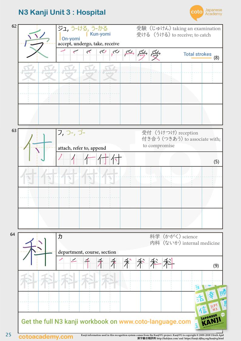 JLPT N3 kanji practice workbook street hospital sick 受付