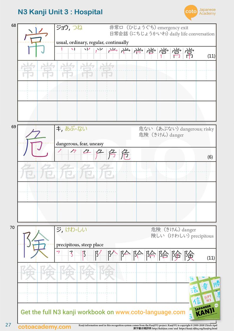 JLPT N3 kanji practice workbook street hospital danger