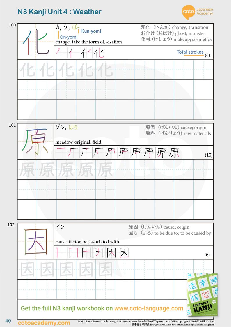 JLPT N3 kanji practice workbook weather