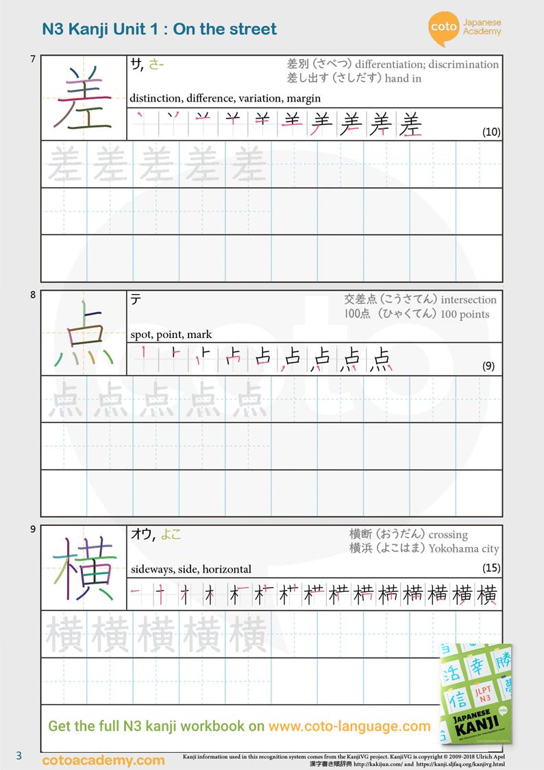 JLPT N3 kanji practice workbook street 交差点