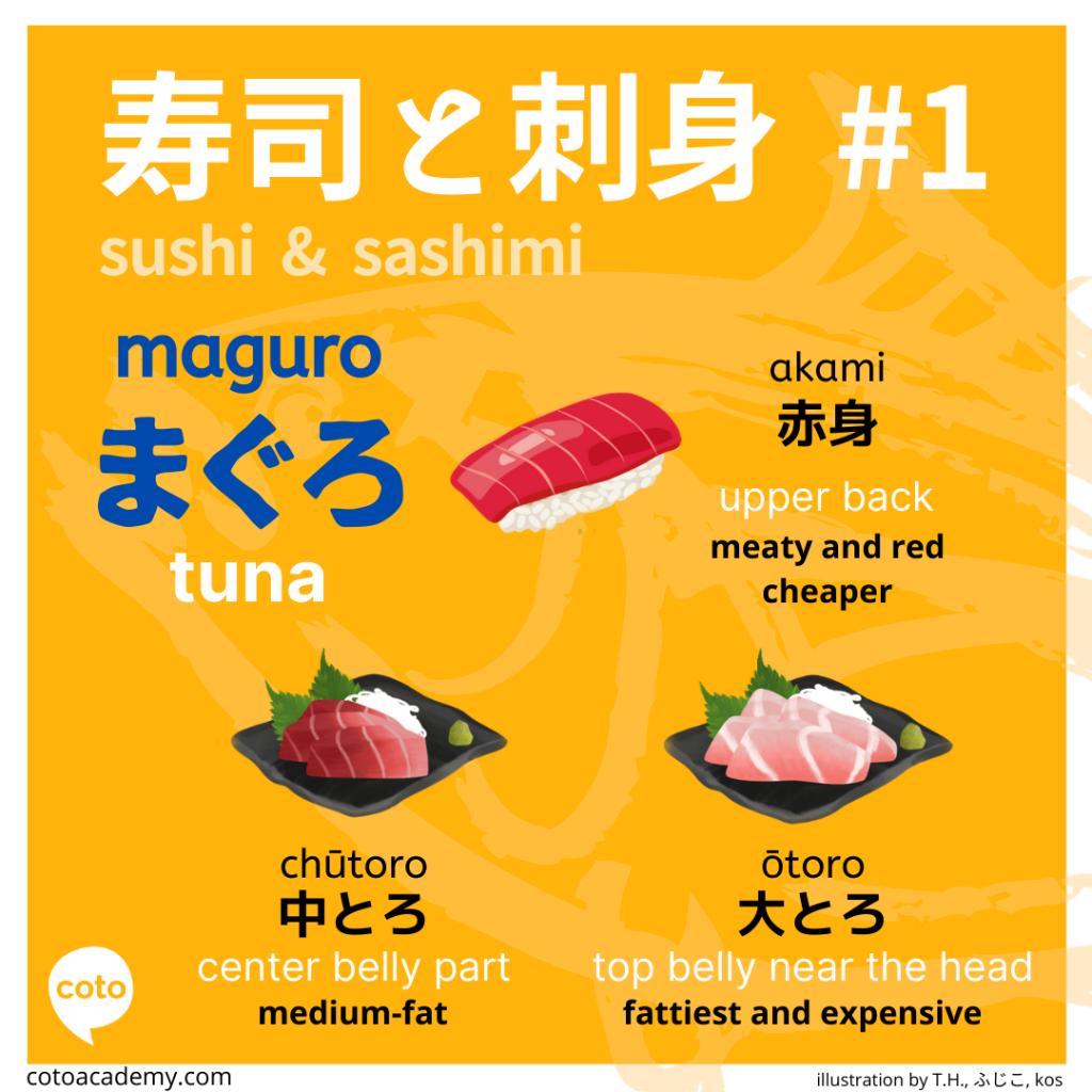 sushi and sashimi japanese tuna
