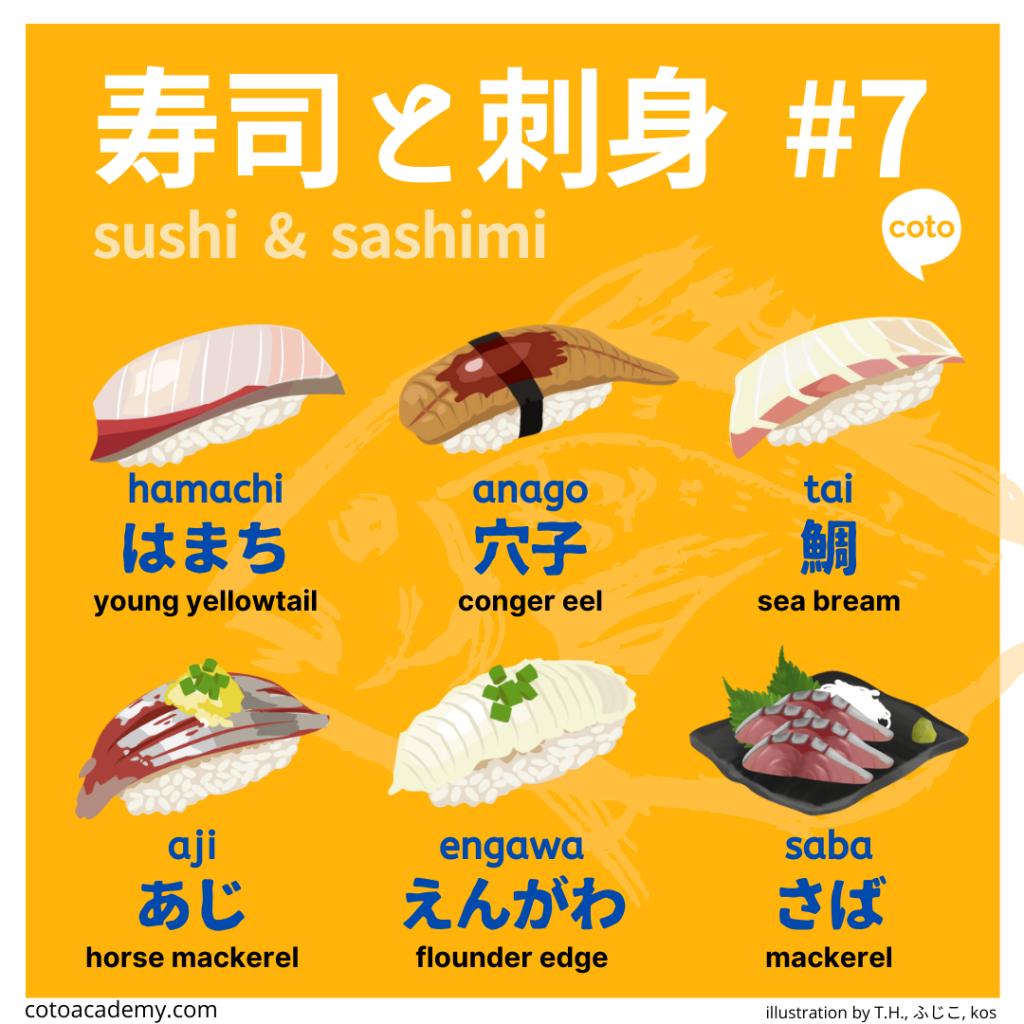 sushi and sashimi various Japanese fish names