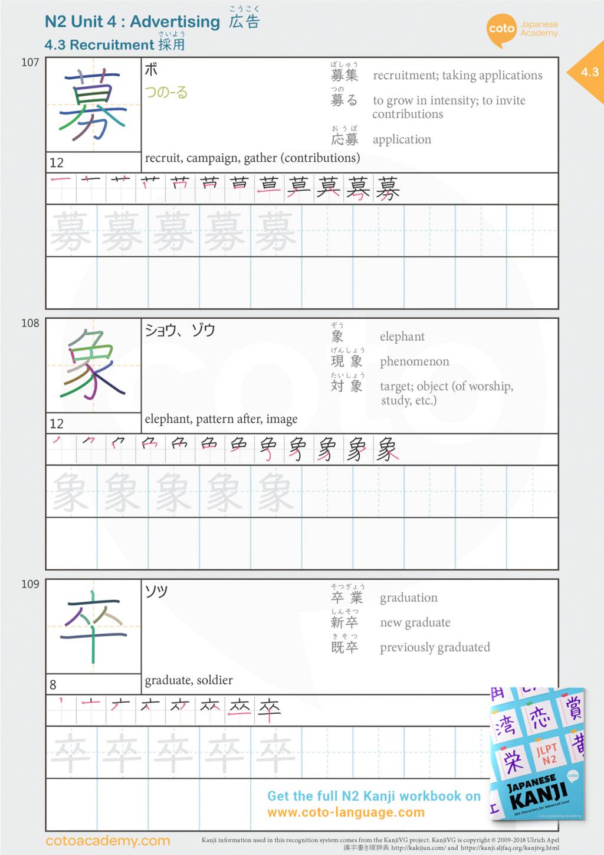 N2 JLPT japanese kanji recruitment job hunting