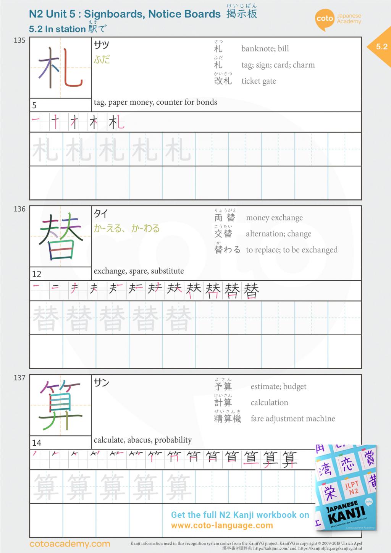 jlpt n2 japanese kanji japan train