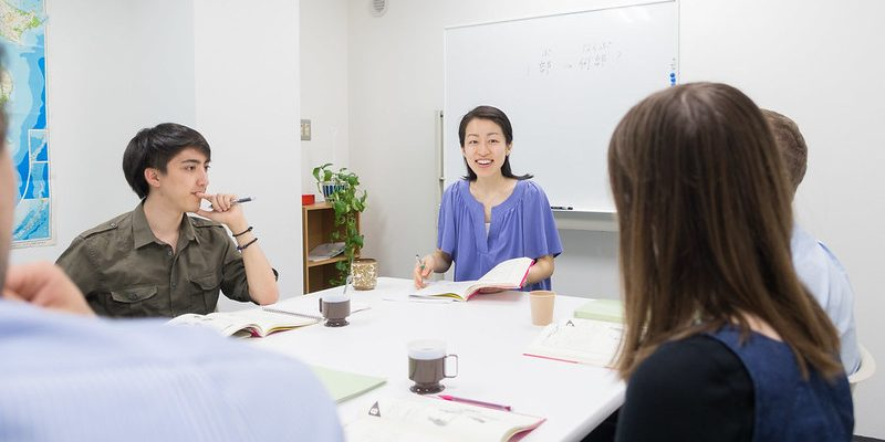 Japanese teacher asking the student a question
