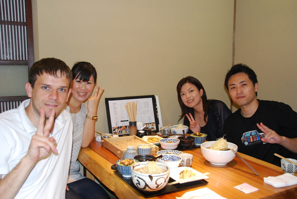 Eating Soba with Japanese friends